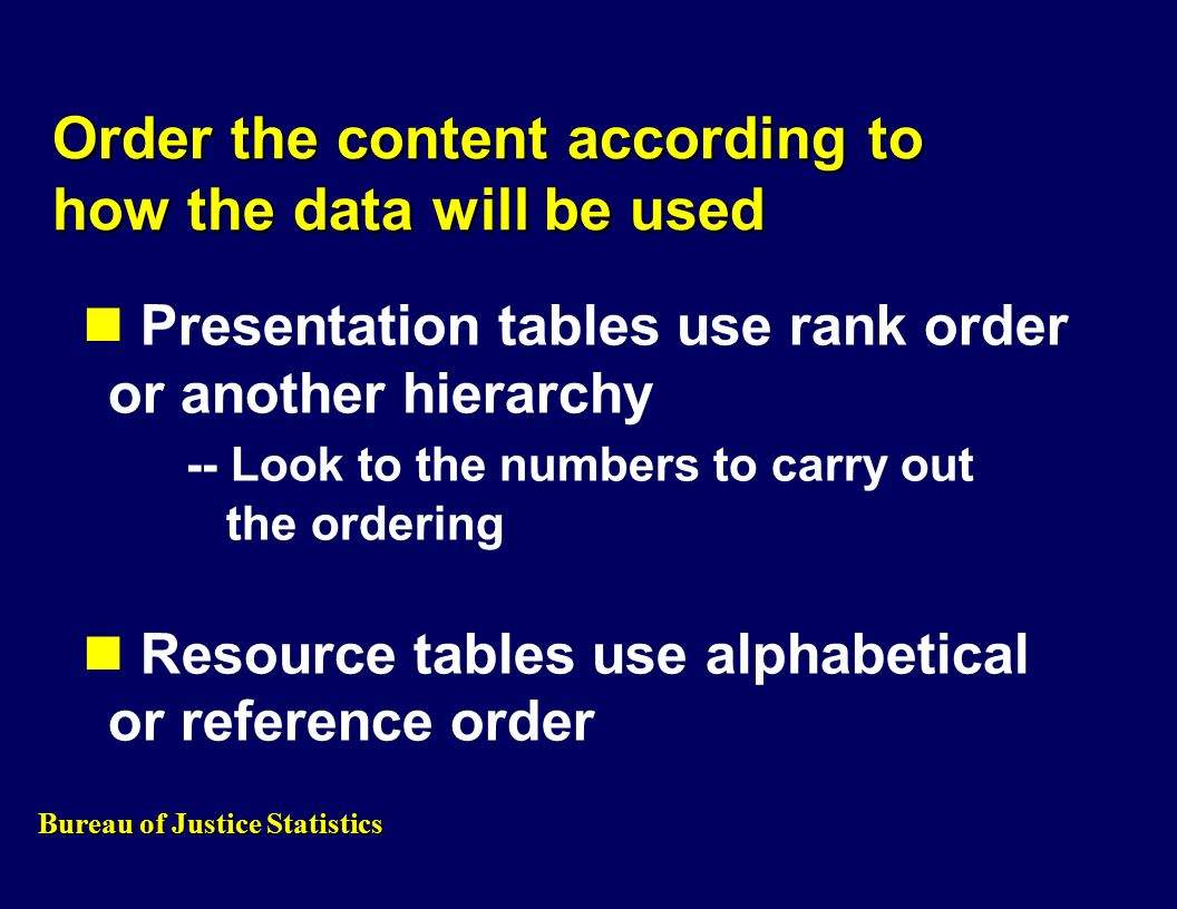 Order the content according to how the data will be used Presentation tables use rank order or another hierarchy -- Look to the numbers to carry out the ordering Resource tables use alphabetical or reference order Bureau of Justice Statistics