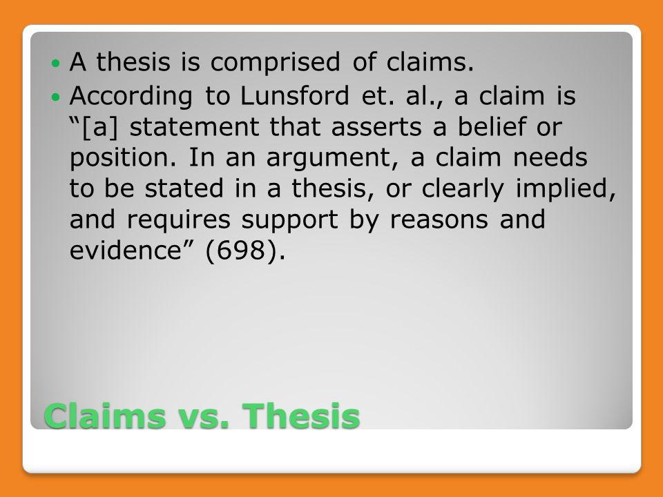 Claim v thesis