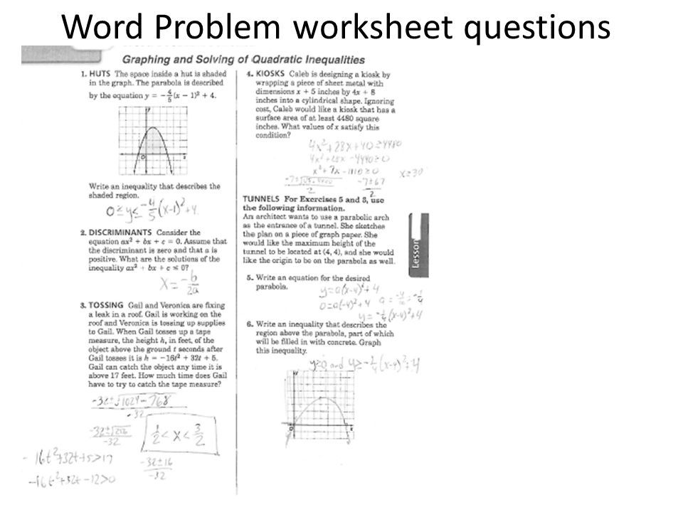 Solving Quadratic Equations Word Problems Worksheet - Jennarocca
