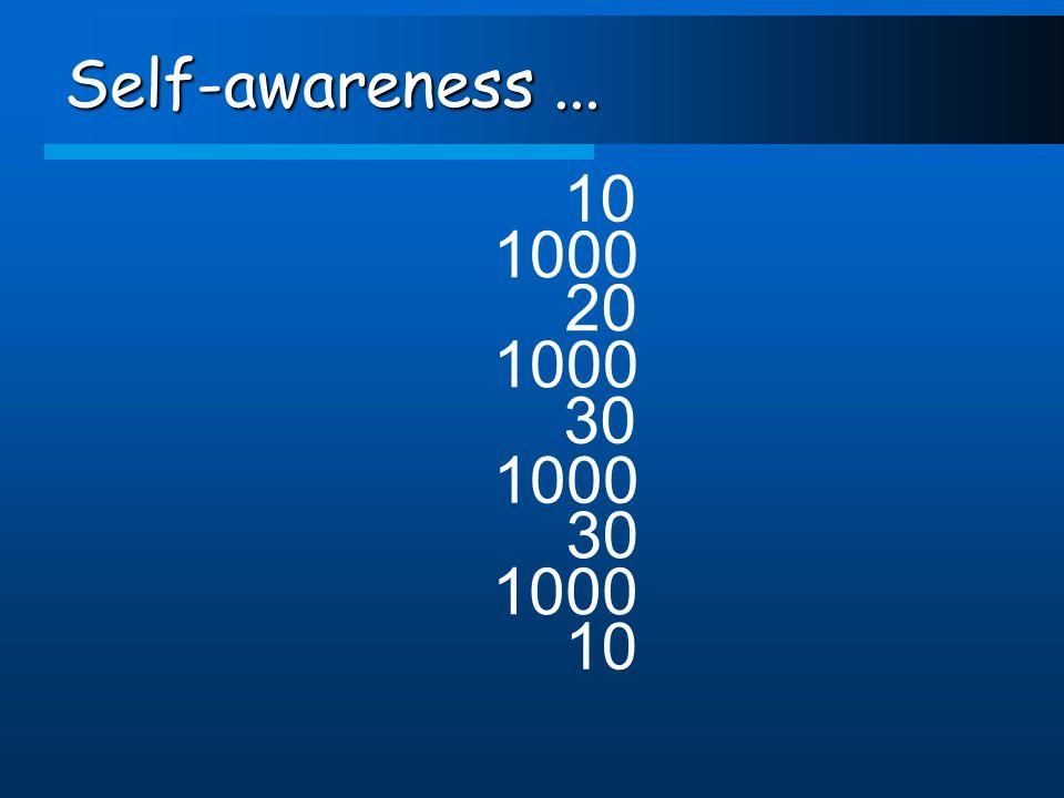 Self-awareness... 10 1000 20 1000 30 1000 30 1000 10