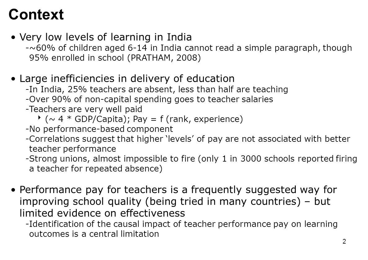 1 Teacher Performance Pay: Experimental Evidence from India ...
