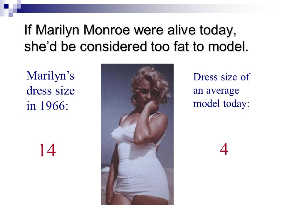 If Marilyn Monroe were alive today, she'd be considered too fat to model.