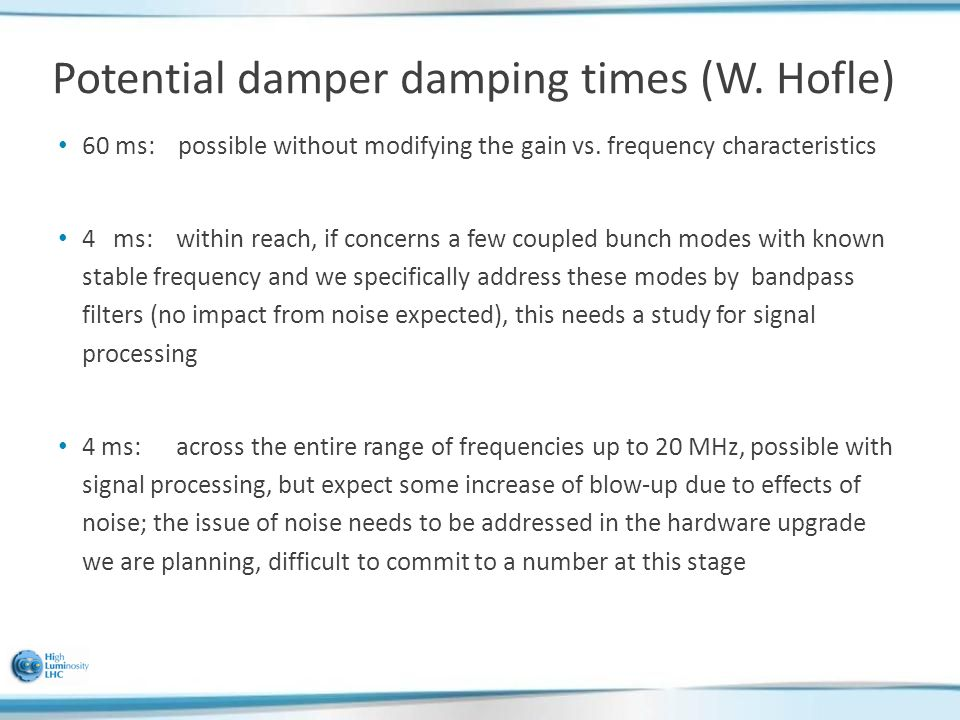 Potential damper damping times (W. Hofle) 60 ms: possible without modifying the gain vs.