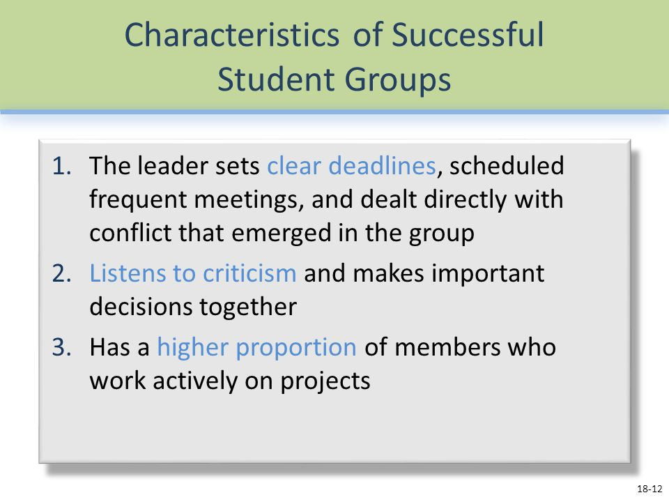 Characteristics of Successful Student Groups 1.The leader sets clear deadlines, scheduled frequent meetings, and dealt directly with conflict that emerged in the group 2.Listens to criticism and makes important decisions together 3.Has a higher proportion of members who work actively on projects 18-12
