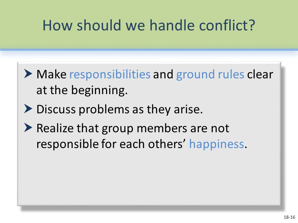 How should we handle conflict.  Make responsibilities and ground rules clear at the beginning.