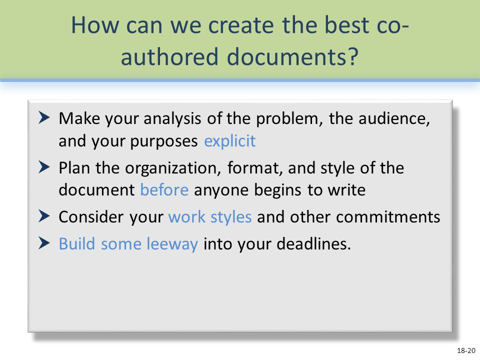 How can we create the best co- authored documents.