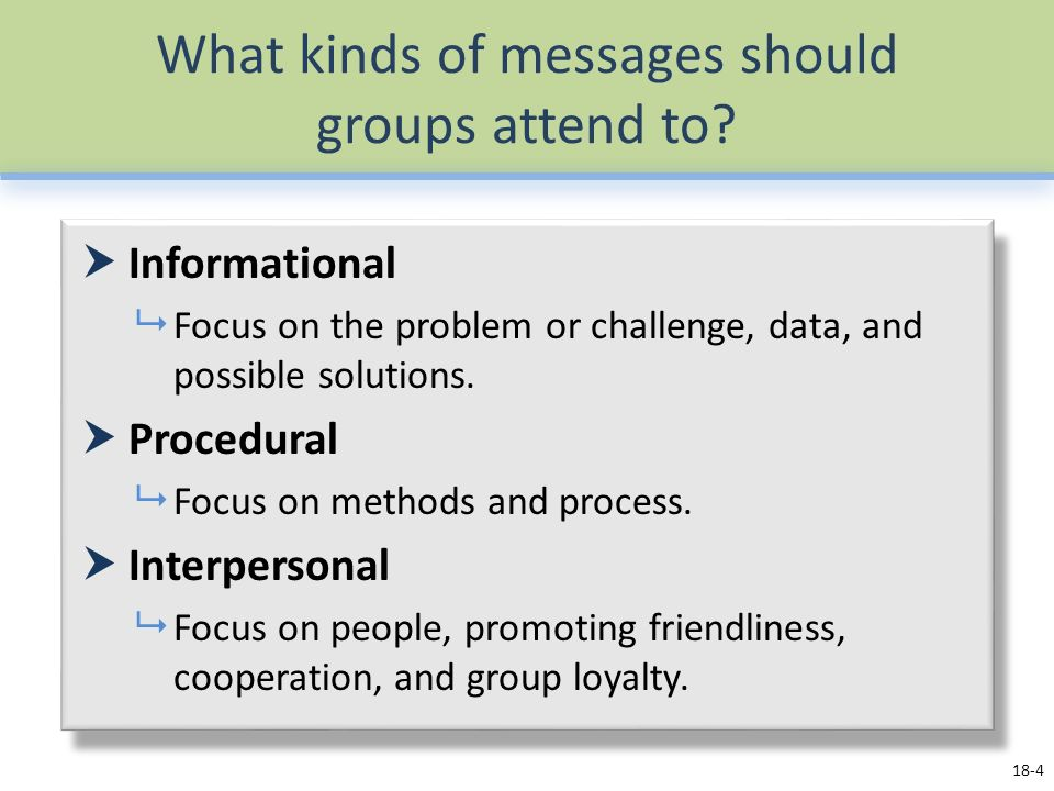 What kinds of messages should groups attend to.
