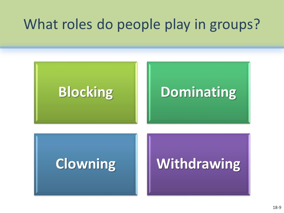 What roles do people play in groups 18-9BlockingDominating ClowningWithdrawing