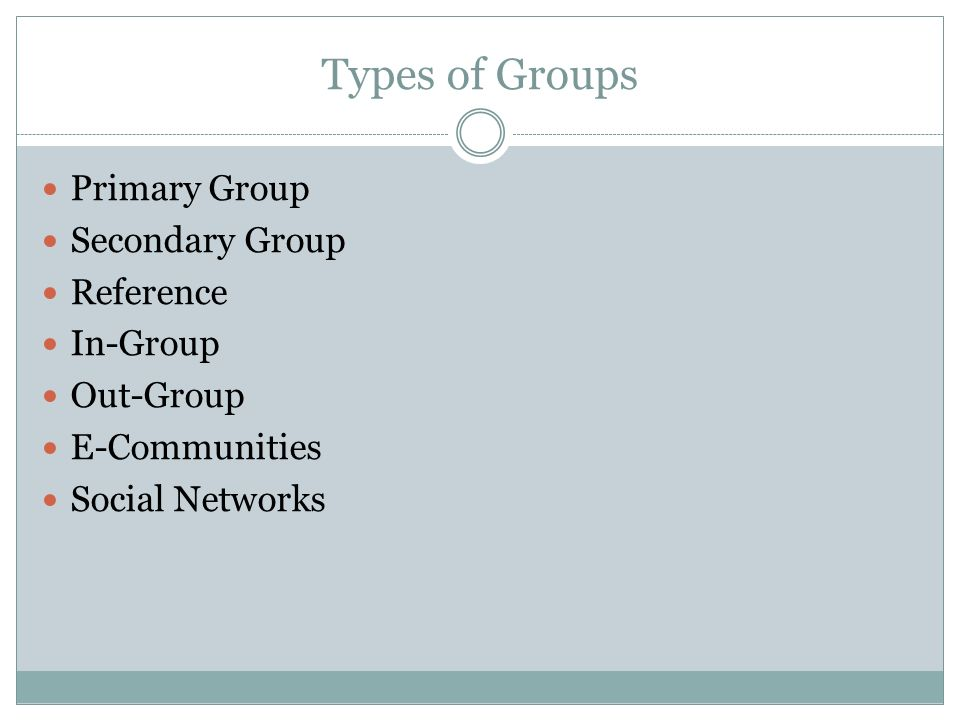 Types of Groups Primary Group Secondary Group Reference In-Group Out-Group E-Communities Social Networks