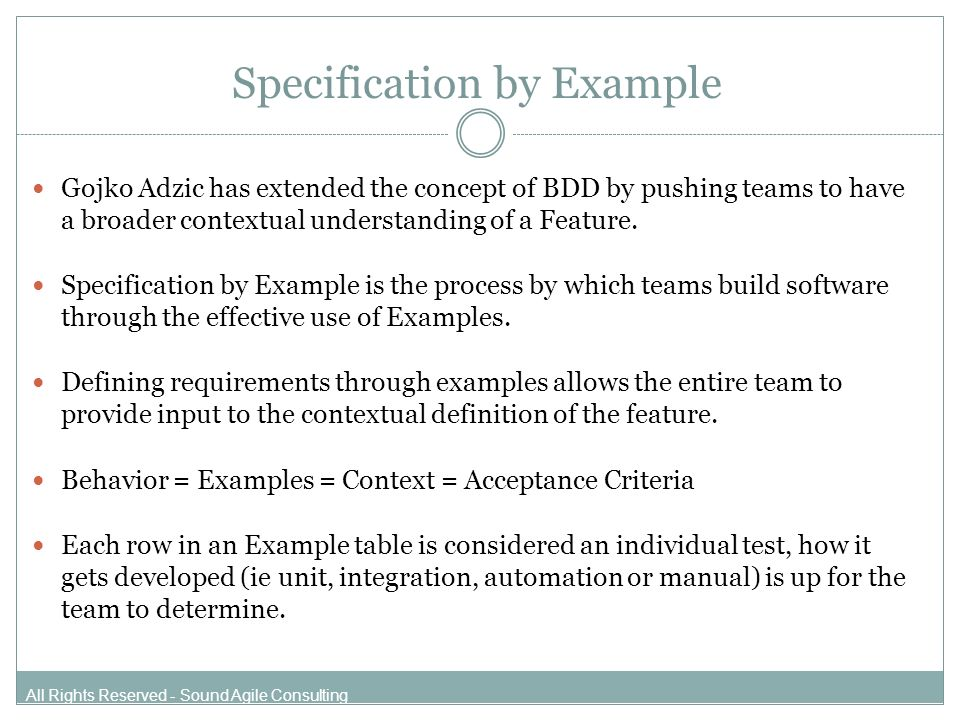 Behavior Driven Test Development Specification By Example All Rights
