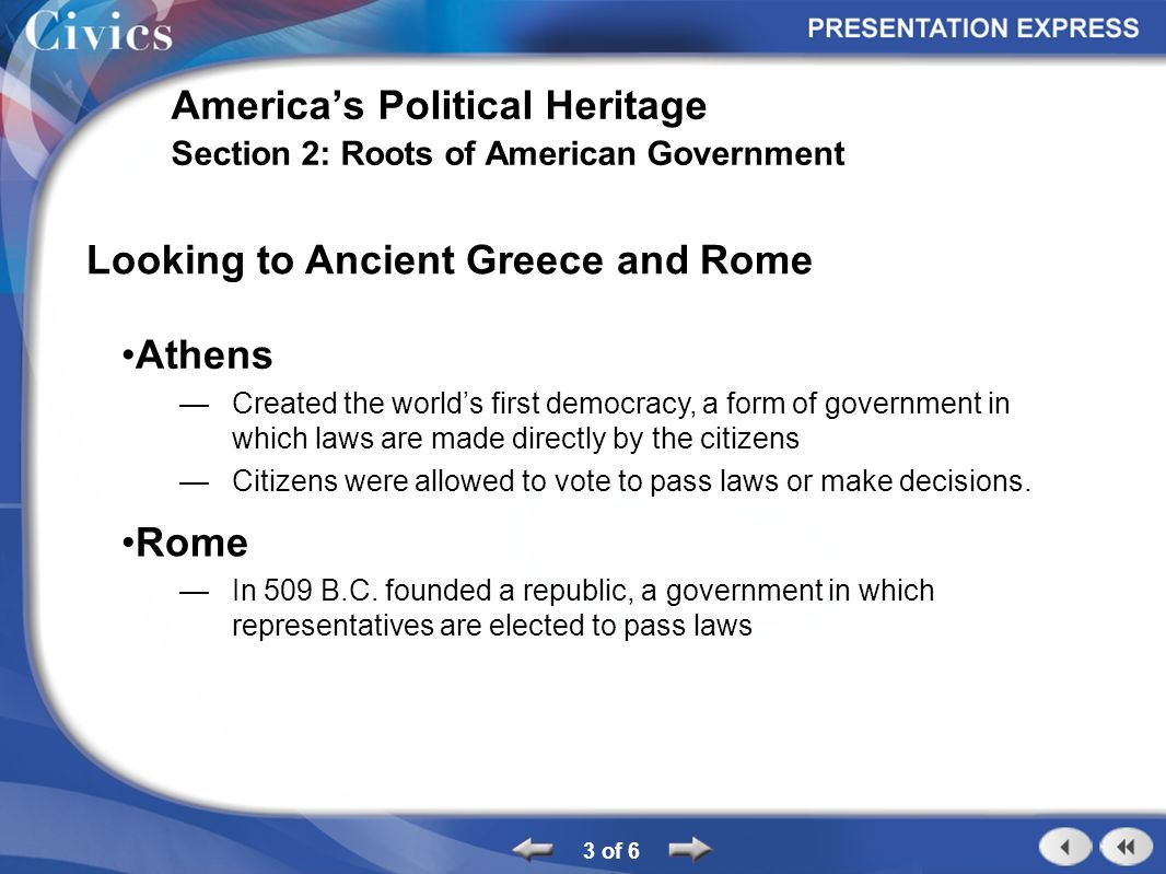 Section Outline 1 of 6 America's Political Heritage Section 2 ...
