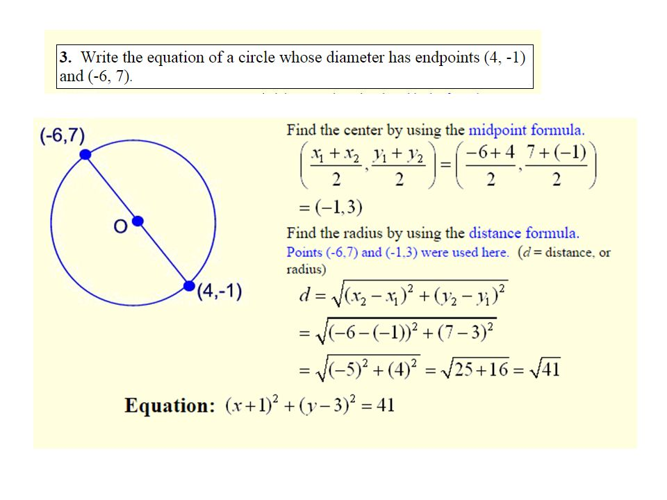 Find The Standard Form Of The Equation Of The Circle With Endpoints
