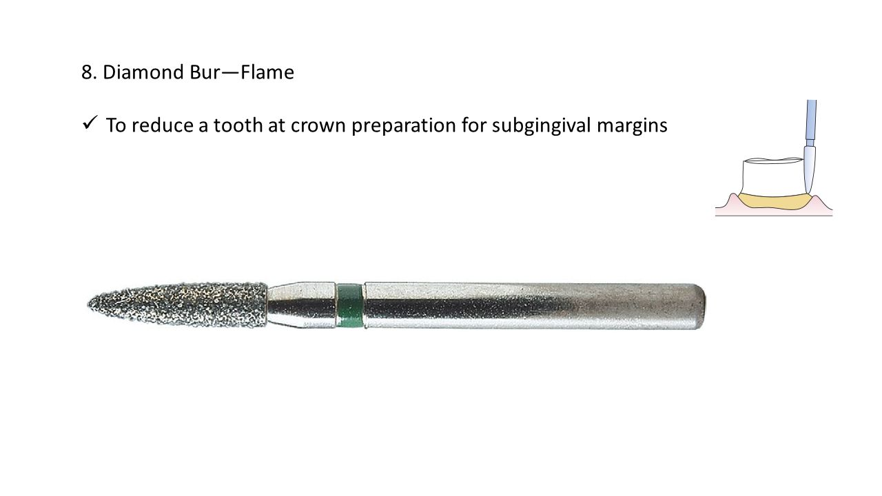 8. Diamond Bur—Flame To reduce a tooth at crown preparation for subgingival margins