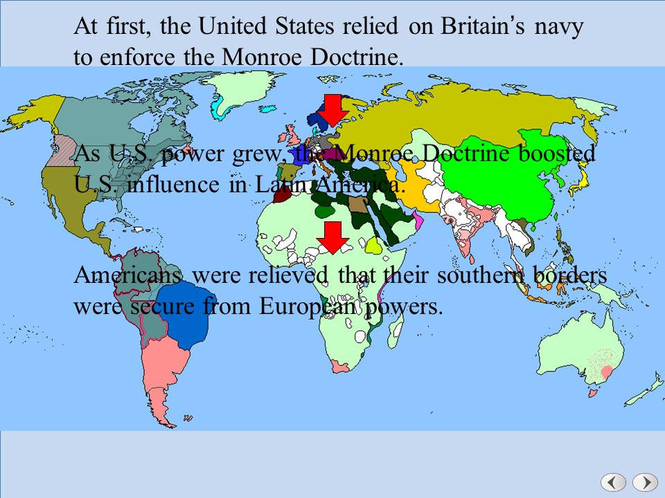 Dealing With Other Nations Chapter A Changing Nation Ppt - Map of the us during monroe doctrine