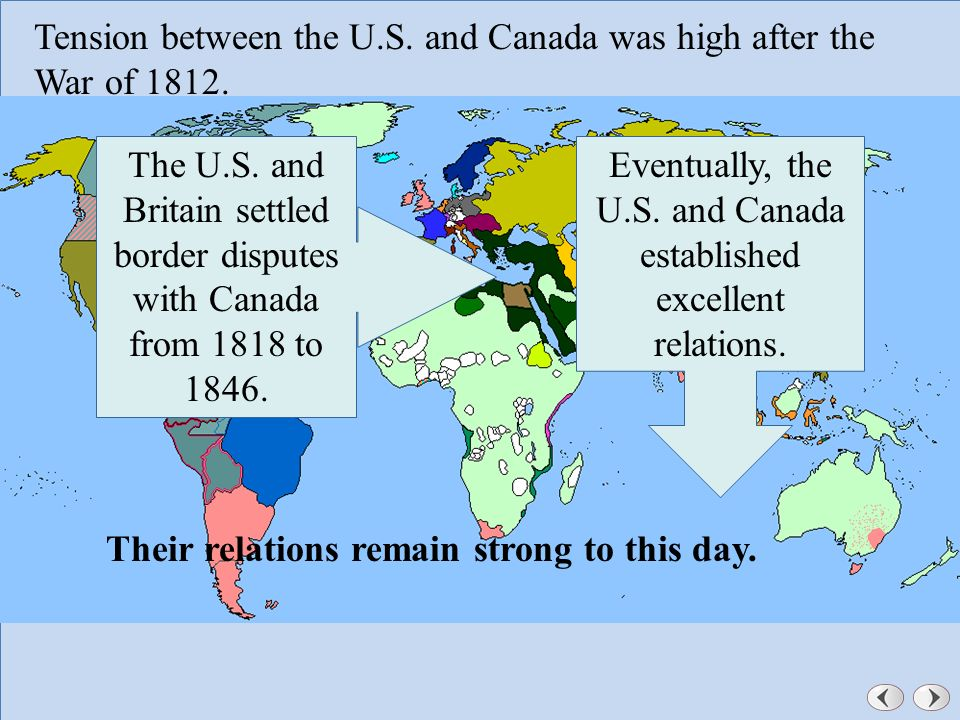 Dealing With Other Nations Chapter A Changing Nation Ppt - Us 1818 border map