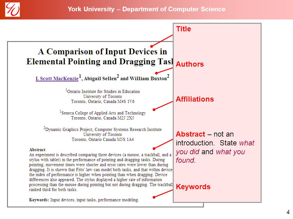 york university department of computer science writing a 4 york university department of computer science title authors affiliations abstract not an introduction