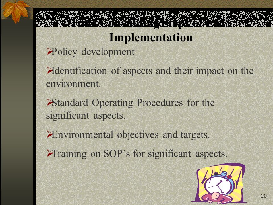 20 Time Consuming Steps of EMS Implementation  Policy development  Identification of aspects and their impact on the environment.