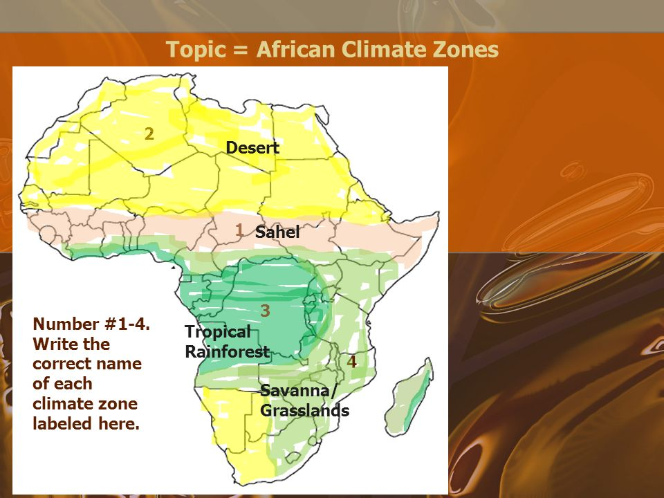 Topic african countries number 1 7 write the correct name of topic african climate zones 1 3 4 2 number 1 4 sciox Choice Image