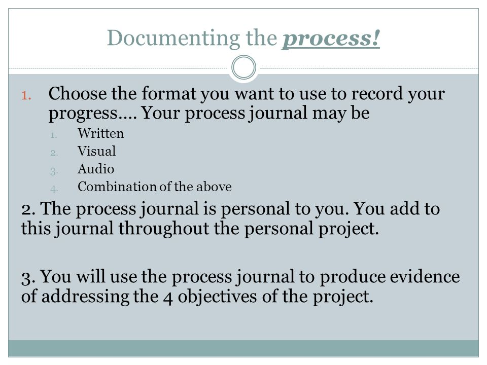 personal journal format