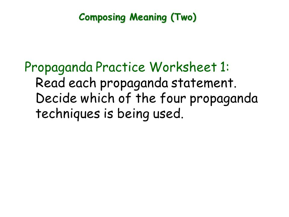 Write down any commercials that come to mind Tell what the people – Propaganda Techniques Worksheet