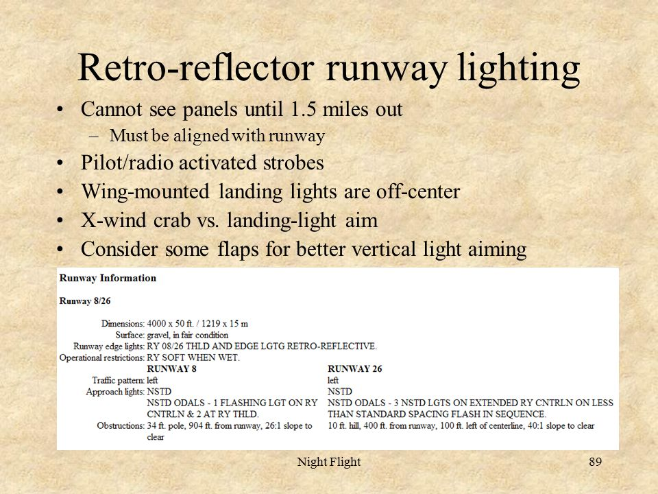 Night Flight89 Retro Reflector Runway Lighting Cannot See Panels Until 1.5  Miles Out U2013Must