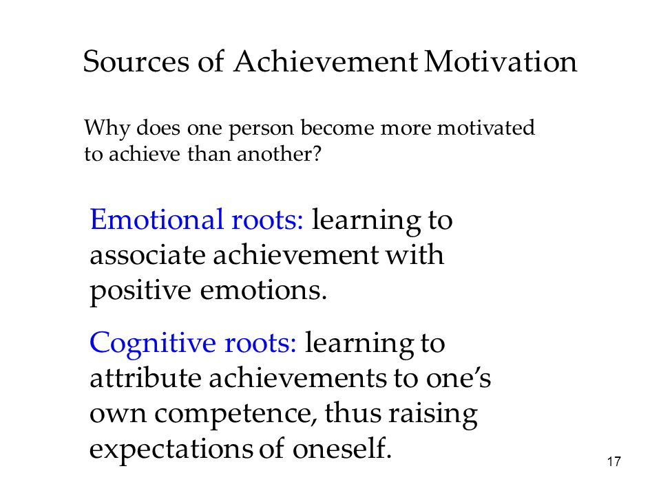 17 Sources of Achievement Motivation Why does one person become more motivated to achieve than another.