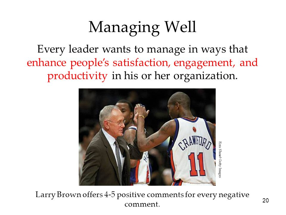 20 Managing Well Every leader wants to manage in ways that enhance people's satisfaction, engagement, and productivity in his or her organization.