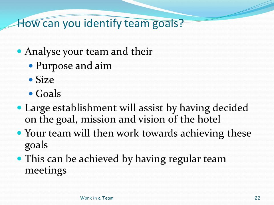 How can you identify team goals? Analyse your team and their Purpose and aim Size Goals Large establishment will assist by having decided on the goal,