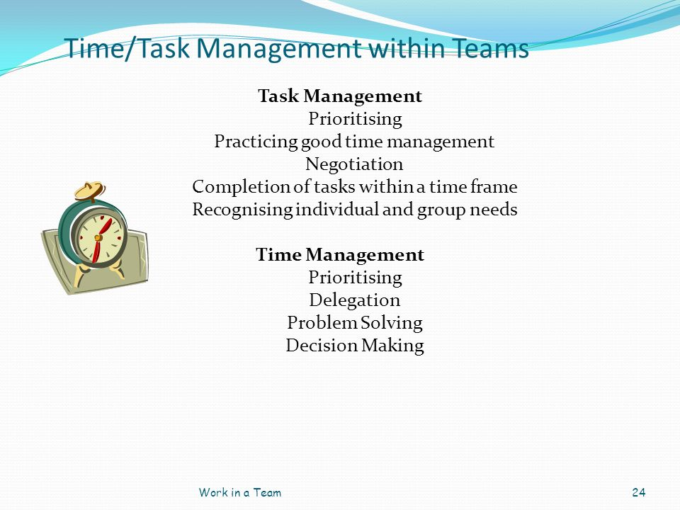 Time/Task Management within Teams Task Management Prioritising Practicing good time management Negotiation Completion of tasks within a time frame Rec