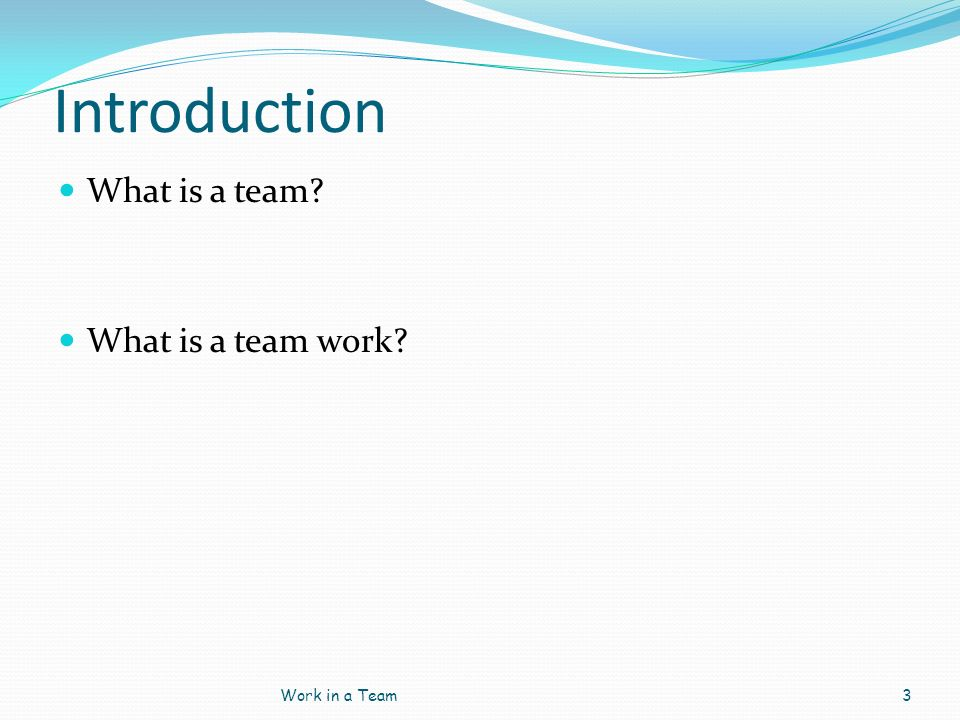 Introduction What is a team? What is a team work? Work in a Team3