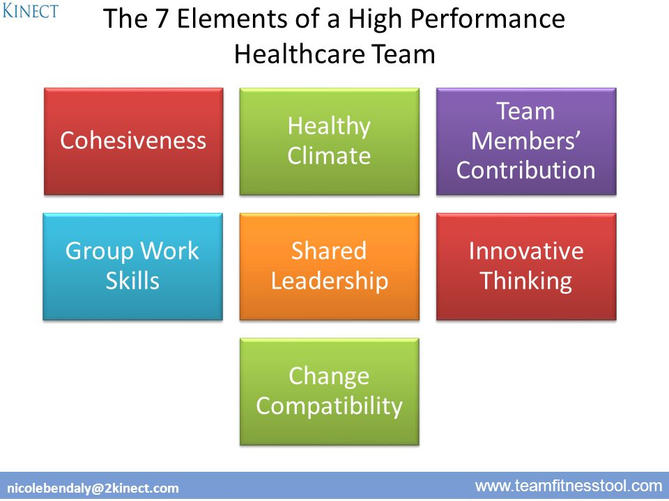 1 www.teamfitnesstool.com nicolebendaly@2kinect.com The 7 Elements of a High Performance Healthcare Team Cohesiveness Healthy Climate Team Members' Contribution Group Work Skills Shared Leadership Innovative Thinking Change Compatibility