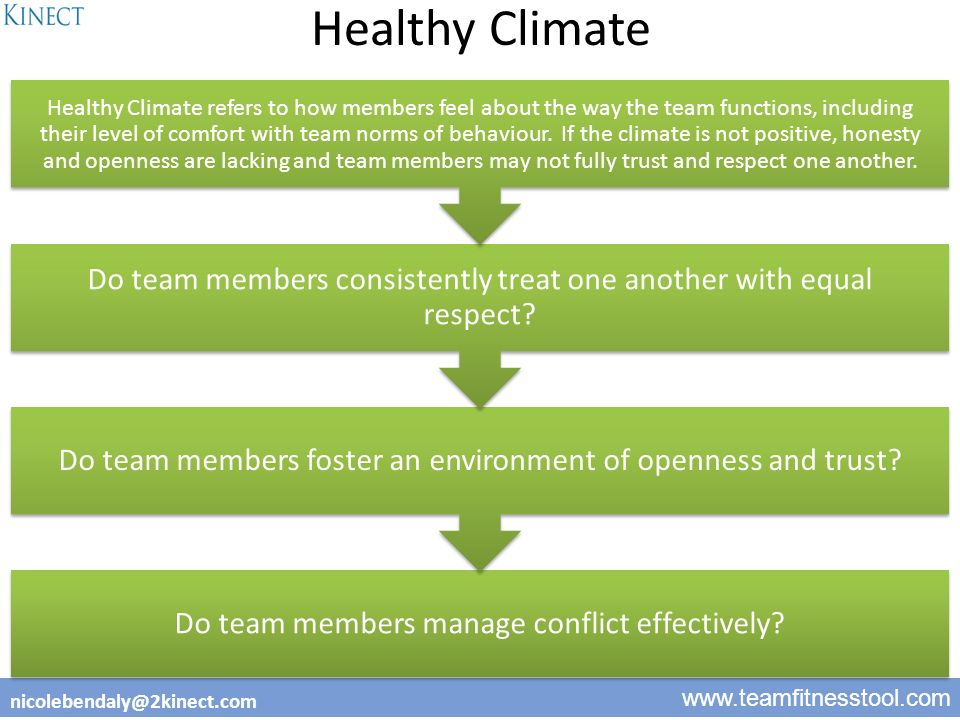 2 www.teamfitnesstool.com nicolebendaly@2kinect.com Healthy Climate Do team members manage conflict effectively.