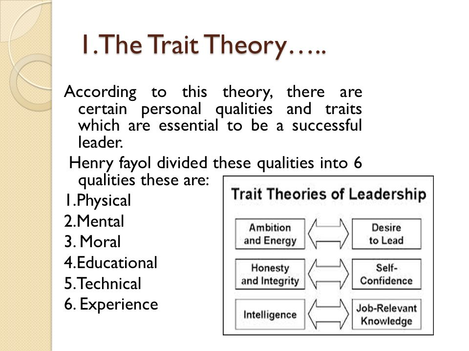1.The Trait Theory….. According to this theory, there are certain personal qualities and traits which are essential to be a successful leader. Henry f