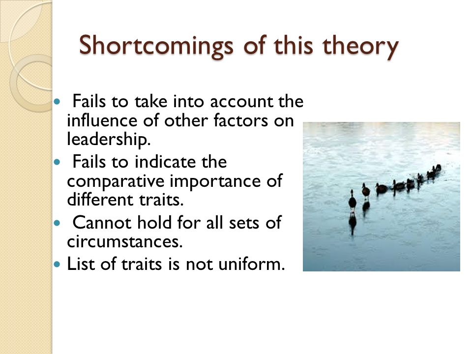 Shortcomings of this theory Fails to take into account the influence of other factors on leadership. Fails to indicate the comparative importance of d