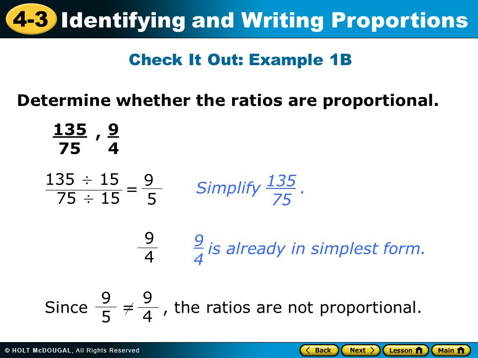 4-3 Identifying and Writing Proportions Warm Up Warm Up Lesson ...