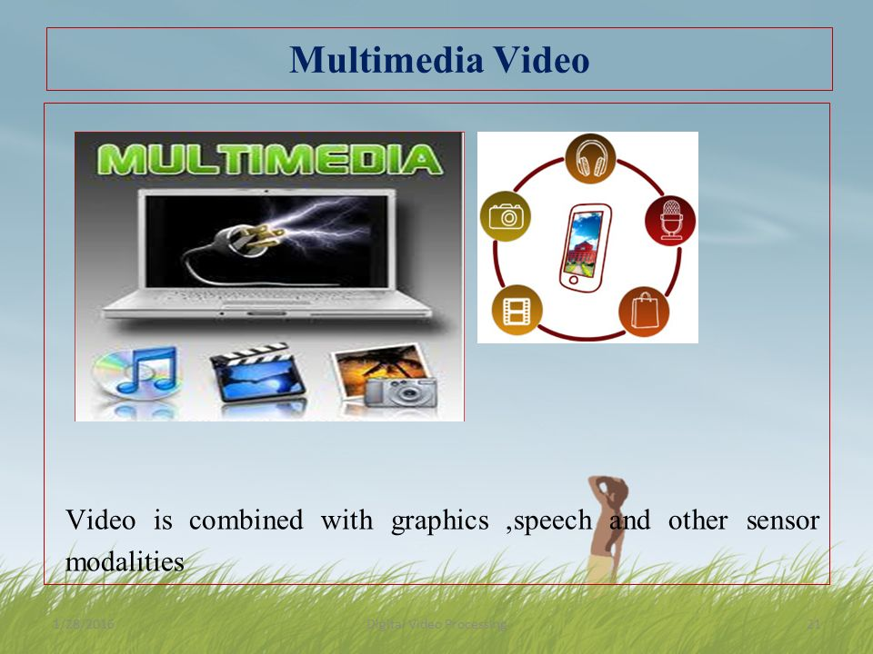 Multimedia Video Video is combined with graphics,speech and other sensor modalities 1/28/2016Digital Video Processing21