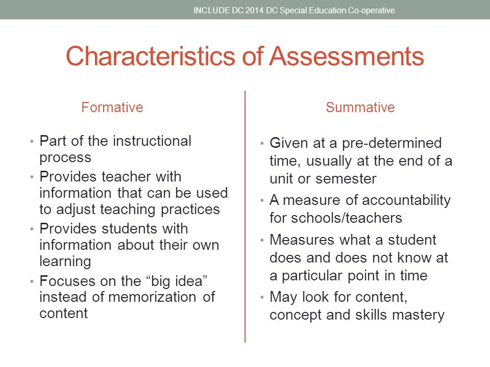 Formative And Summative Assessment Include Dc