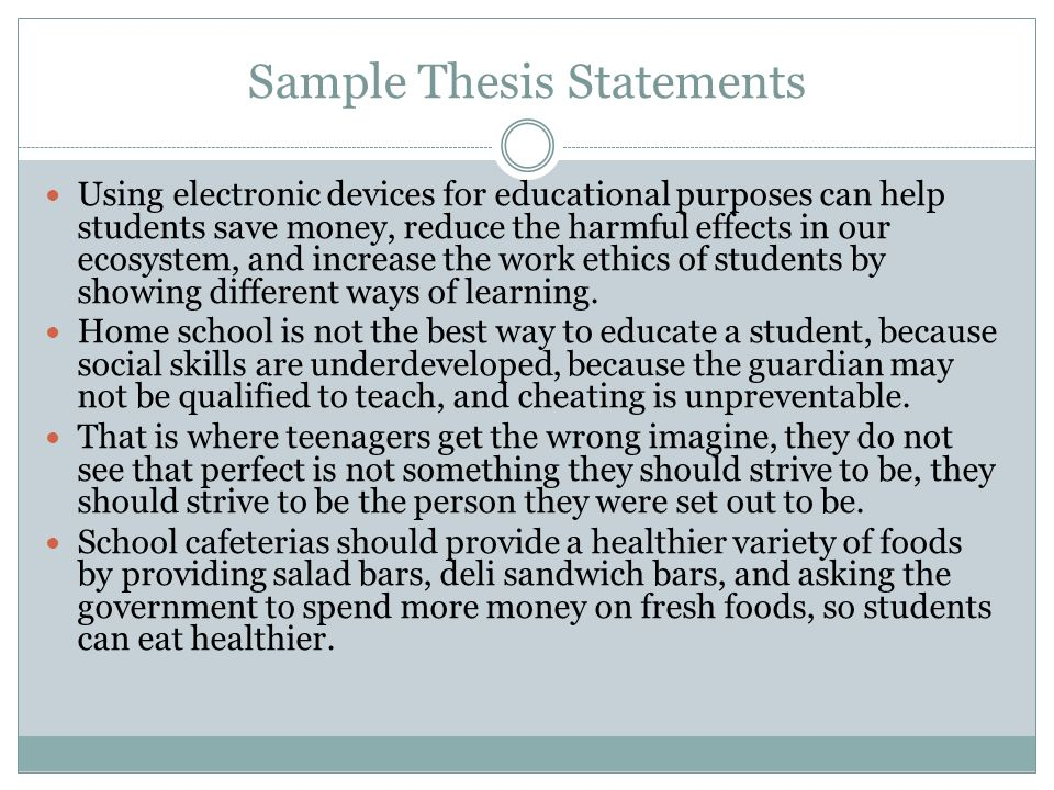 sample essay thesis statement