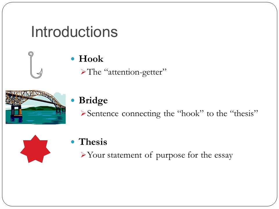using thesis hooks Intro paragraphs & thesis statements an academic writing workshop compiled by the academic support center & the library resources using a hook too broad:.