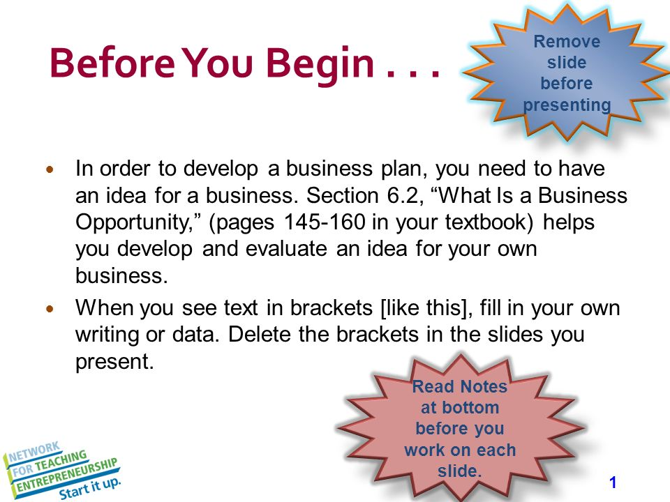 What you need for a business plan