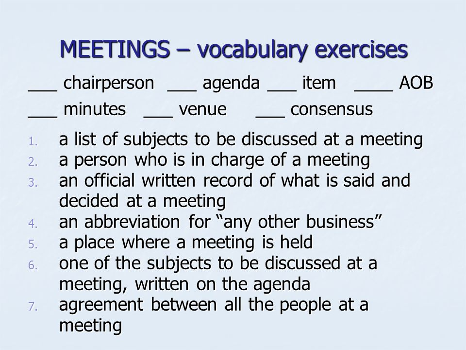 Meetings what do you know about these aspects of meetings 11 meetings vocabulary thecheapjerseys Images