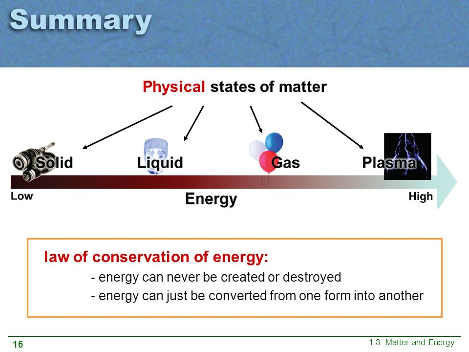 CHAPTER 1 The Science of Chemistry 1.3 Matter and Energy. - ppt ...