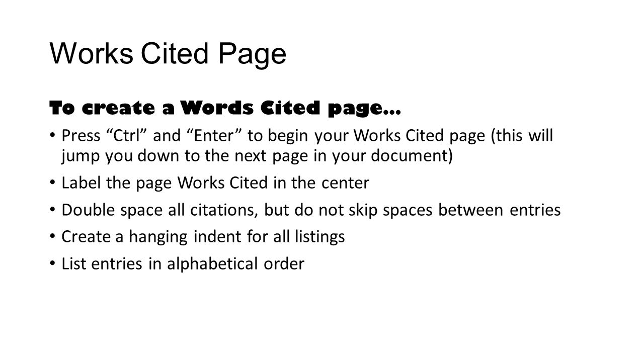 works citied page