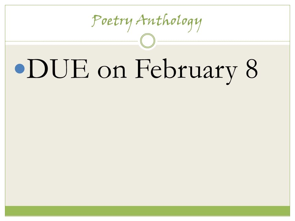 Poetry anthology assignment