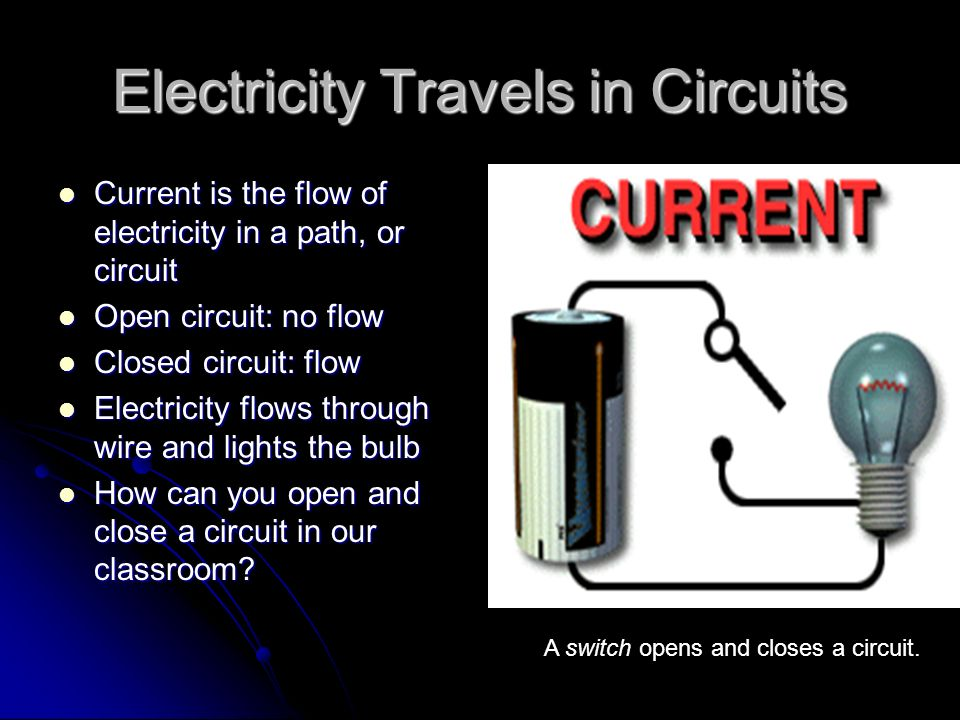 Batteries 2 different metals in a chemical solution 2 different metals in a chemical solution Chemical reaction causes electrons to move Chemical reaction causes electrons to move Each end of the battery connects to a metal Each end of the battery connects to a metal Positive charged end: releases more electrons Positive charged end: releases more electrons Negative charged end: releases less electrons Negative charged end: releases less electrons Strength of a battery- measured in volts Strength of a battery- measured in volts