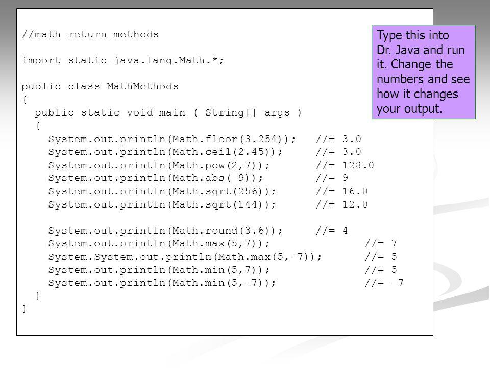 Charming //math Return Methods Import Static Java.lang.Math.*; Public
