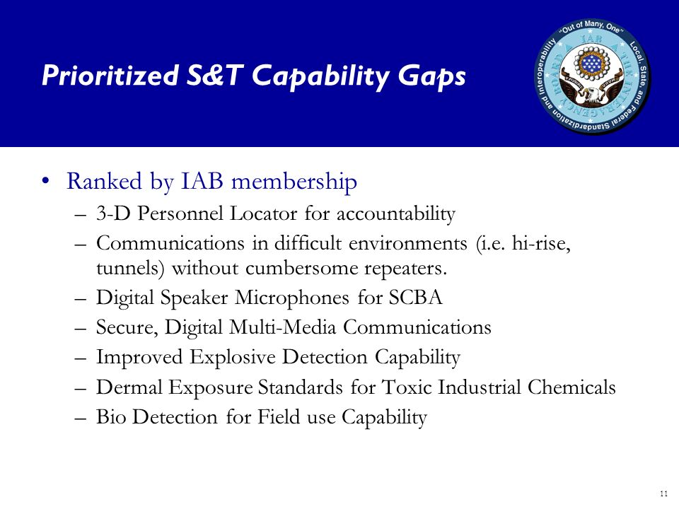 11 Prioritized S&T Capability Gaps Ranked by IAB membership –3-D Personnel Locator for accountability –Communications in difficult environments (i.e.