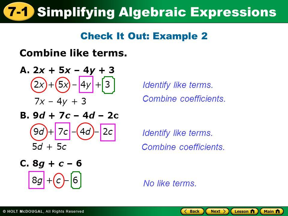 Combining like terms worksheet – Combine Like Terms Worksheet