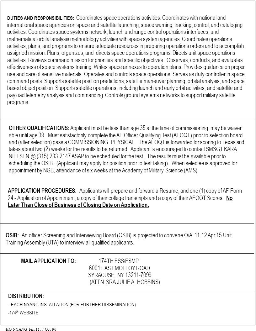 NEWLY COMMISSIONED OFFICER VACANCY ANNOUNCEMENT NEW YORK AIR ...