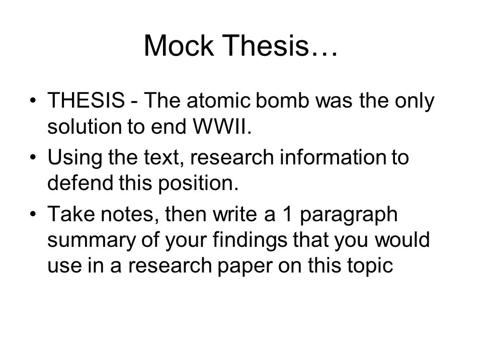 atomic bomb essay thesis Dropping the atomic bomb 3 pages 741 words november 2014 saved essays save your essays here so you can locate them quickly.